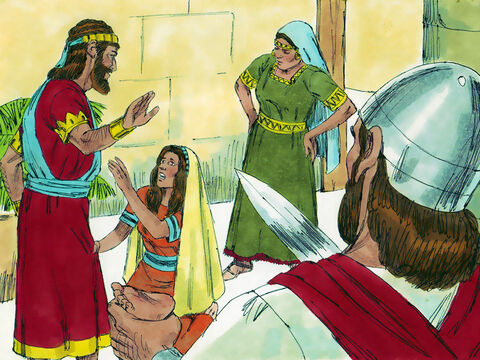 The woman whose son was alive was so deeply moved out of love for her son she begged Solomon, 'Please, my lord, give her the living baby! Don't kill him!' But the other woman said, 'Neither I, nor you, shall have him. Cut him in two!' Solomon then gave his ruling: – Slide 12