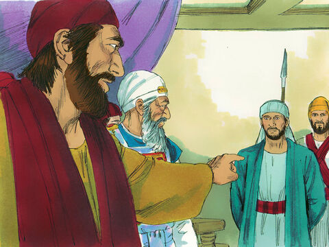 The plotters made more false accusations: 'This fellow never stops speaking against this Temple and the law. We heard him say that Jesus of Nazareth will destroy this place and change the customs Moses handed down to us.' – Slide 11