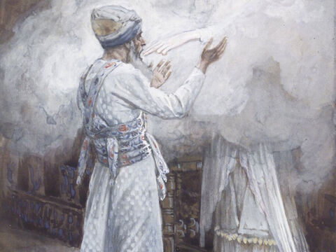 While Zechariah was in the sanctuary, an angel of the Lord appeared, standing to the right of the incense altar. 'Don't be afraid, Zechariah!' the angel said,  'God has heard your prayer. Your wife, Elizabeth, will give you a son, and you are to name him John. He will be filled with the Holy Spirit, even before his birth and turn many Israelites to the Lord. He will be a man with the spirit and power of Elijah who will prepare the people for the coming of the Lord.' <br/>Luke 2:11-17). <br/>The Vision of Zacharias - James Tissot - Brooklyn Museum. – Slide 3