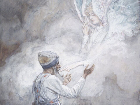 Zechariah replied, 'How can I be sure this will happen? I'm an old man now, and my wife is old too.' <br/>'I am Gabriel! I stand in the very presence of God,' the angel announced. 'He sent me to bring you this good news! But since you didn't believe what I said, you will unable to speak until the child is born' <br/>When Zechariah came out to the people, he couldn't speak. Soon afterward his wife, Elizabeth, became pregnant. 'How kind the Lord is!' she exclaimed. <br/>(Luke 2:18-25). <br/>The Vision of Zacharias - James Tissot - Brooklyn Museum. – Slide 4