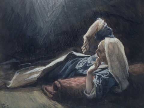 Then, an angel of the Lord appeared to him in a dream and said, 'Joseph, do not be afraid to take Mary home as your wife, because what is conceived in her is from the Holy Spirit. She will give birth to a son, and you are to give him the name Jesus, because He will save His people from their sins.' <br/>(Matthew 1:20-21). <br/>The Vision of Joseph - James Tissot - Brooklyn Museum. – Slide 8