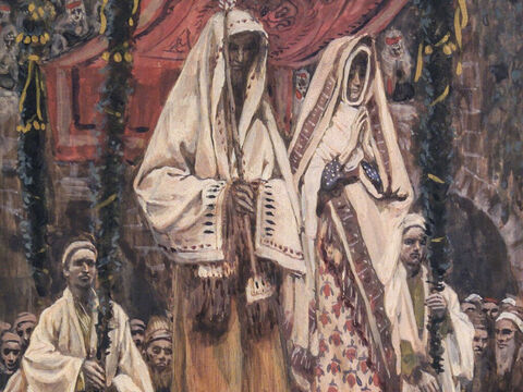 When Joseph woke up, he did what the angel of the Lord had commanded him and took Mary home as his wife. But he did not consummate their marriage until she gave birth to a son. <br/>(Matthew 1:24-25). <br/>The Betrothal of Mary and Joseph - James Tissot - Brooklyn Museum. – Slide 10