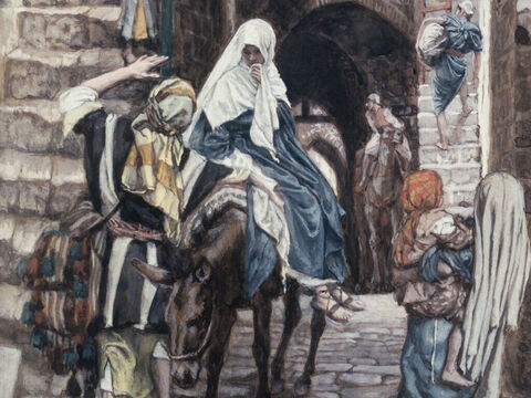 When the Roman emperor, Augustus, decreed that a census should be taken throughout the Roman Empire, it meant Mary and Joseph had to register in Bethlehem in Judea, David's ancient home.  <br/>When they arrived the town was full and there were no lodgings available for them to stay. <br/>(Luke 2:1-5). <br/>Joseph Seeks a Lodging in Bethlehem - James Tissot - Brooklyn Museum. – Slide 13