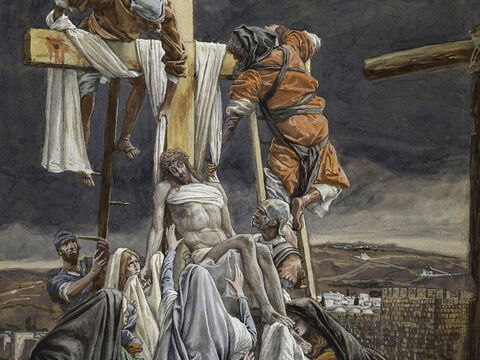 Joseph and Nicodemus took Jesus' body down from the cross. <br/>(John 19:40). <br/>The Descent from the Cross Jesus – James Tissot – Brooklyn Museum. – Slide 4