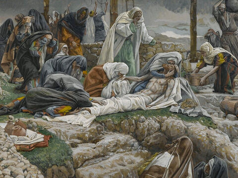 They wrapped the body of Jesus in a clean linen cloth. <br/>(John 19:40). <br/>Mary Receives the Body of Jesus – James Tissot – Brooklyn Museum. – Slide 5