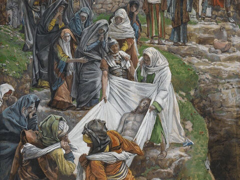 The spices brought by Nicodemus were packed inside the linen and around the body of Jesus. <br/>(John 19:40). <br/>The Body of Jesus Carried to the Anointing Stone – James Tissot – Brooklyn Museum. – Slide 6