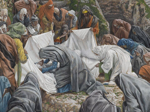 This was in accordance with Jewish burial customs. <br/>(John 19:40). <br/>Mary Kisses the Face of Jesus Before He is Enshrouded on the Anointing Stone - – James Tissot – Brooklyn Museum. – Slide 7