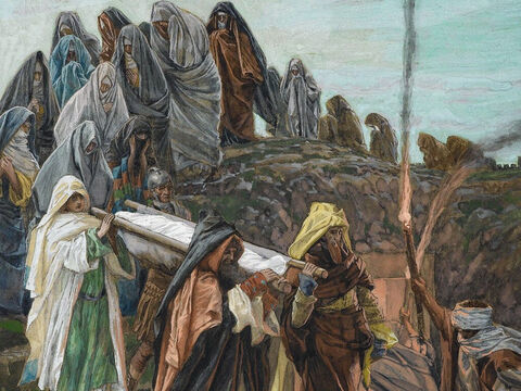 At the place where Jesus was crucified, there was a garden, and in the garden a new tomb belonging to Joseph, in which no one had ever been laid. The body of Jesus was carried to this tomb and laid inside it. <br/>(John 19:41). <br/>Jesus Carried to the Tomb – James Tissot – Brooklyn Museum. – Slide 8