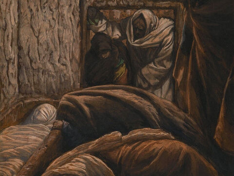 As it was the Jewish day of Preparation and since the tomb was nearby, they laid Jesus there. <br/>(John 19:22). <br/>Jesus in the Sepulchre – James Tissot – Brooklyn Museum. – Slide 9