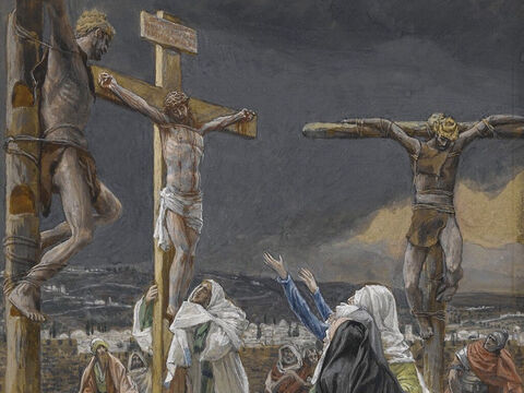 When Jesus had received the drink, He said, 'It is finished.' With that, He bowed His head and gave up His spirit. <br/>(John 19:29). <br/>The Death of Jesus - James Tissot - Brooklyn Museum. – Slide 8