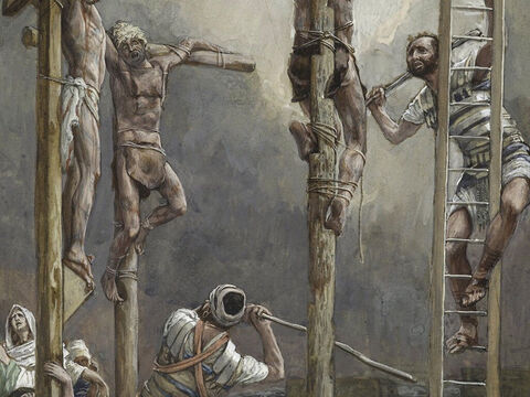 The next day was to be a special Sabbath. As the Jewish leaders did not want the bodies left on the crosses during the Sabbath, they asked Pilate to have the legs broken and the bodies taken down. The soldiers broke the legs of the first man who had been crucified with Jesus, and then those of the other. <br/>(John 19:31-32). <br/>The Thieves Legs Are Broken - James Tissot - Brooklyn Museum. – Slide 9