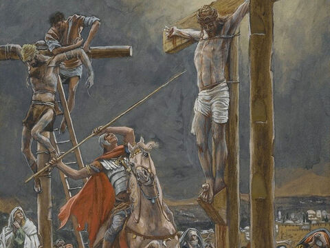 But when they came to Jesus and saw that He was already dead, they did not break His legs.  Instead, one of the soldiers pierced Jesus' side with a spear, bringing a sudden flow of blood and water. <br/>These things happened so that the scripture would be fulfilled: 'Not one of his bones will be broken,' (Exodus 12:46; Numbers 9:12; Psalm 34:20) and, as another scripture says, 'They will look on the one they have pierced' (Zechariah 12:10). <br/>(John 19:34-37). <br/>The Strike of the Lance - James Tissot - Brooklyn Museum. – Slide 10