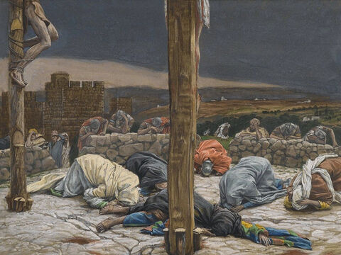 At that moment the curtain of the temple was torn in two from top to bottom. The earth shook, the rocks split and the tombs broke open. <br/>(Matthew 27:51). <br/>The Earthquake - James Tissot - Brooklyn Museum. – Slide 11
