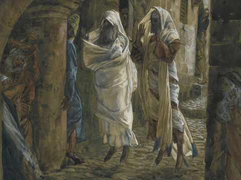 The bodies of many holy people who had died were raised to life. <br/>(Matthew 27:52). <br/>The Dead Appear in Jerusalem - James Tissot - Brooklyn Museum. – Slide 12