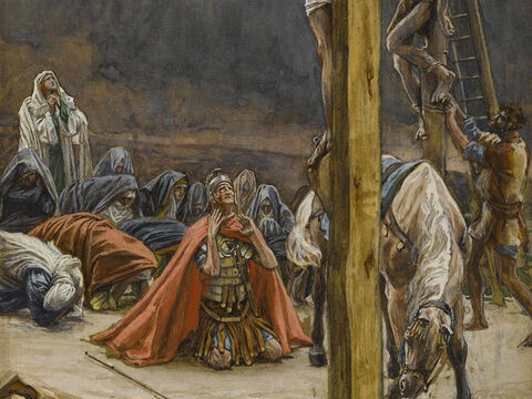 Those who had gathered to witness this sight saw what took place and beat their breasts then went away. <br/>(Matthew 7:54, Luke 23:48). <br/>The Confession of Longinus - James Tissot - Brooklyn Museum. – Slide 15