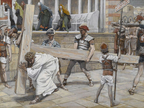 After Pilate had sentenced Jesus to be crucified he gave Him over to Roman soldiers to carry out the sentence. He was to carry his own cross. <br/>(John 19:16-17). <br/>Jesus Bearing the Cross - James Tissot - Brooklyn Museum. – Slide 1