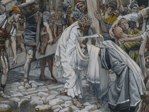 A large crowd trailed behind, including many grief-stricken women. <br/>(Luke 23:27). <br/>A Woman Wipes the Face of Jesus - James Tissot - Brooklyn Museum. – Slide 2
