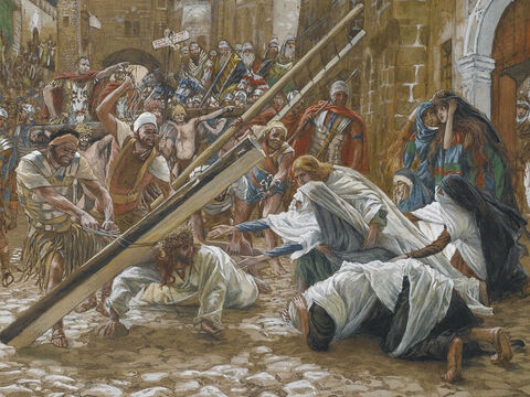 Jesus was in a very weak condition and oral tradition has it that He fell while carrying the cross. <br/>(This is not mentioned in the Bible). <br/>Jesus Meets His Mother - James Tissot - Brooklyn Museum. – Slide 4