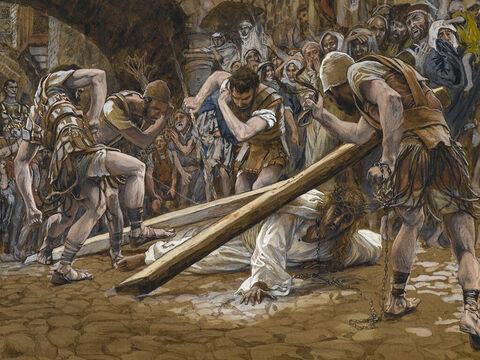 Oral tradition also has it that Jesus may have fallen more than once. <br/>(This is not mentioned in the Bible). <br/>Jesus Falls Beneath the Cross - James Tissot - Brooklyn Museum. – Slide 5