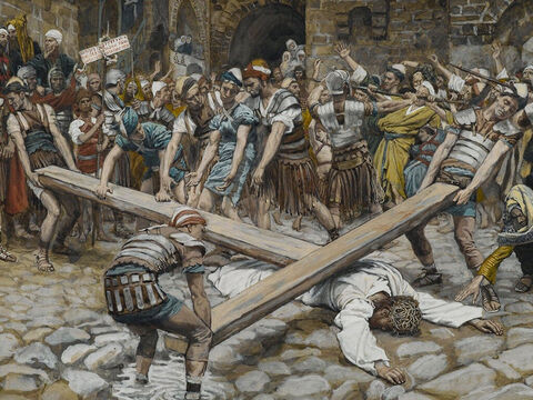 The Roman soldiers forced Simon of Cyrene to carry the cross of Jesus behind Him. <br/>(Matthew 27:32, Mark 15:21). <br/>Simon the Cyrenian Compelled to Carry the Cross with Jesus  - James Tissot - Brooklyn Museum. – Slide 6