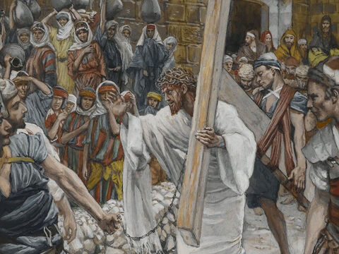 Jesus turned and told the weeping women, 'Daughters of Jerusalem, don't weep for me, but weep for yourselves and for your children.' He spoke of future events when Jerusalem would be destroyed. <br/>(Luke 23:28-31). <br/>The Daughters of Jerusalem - James Tissot - Brooklyn Museum. – Slide 7