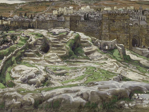 They brought Jesus to a place called Golgotha which means 'Place of the Skull'. <br/>(Mark 15:22) <br/>Reconstruction of Golgotha and the Holy Sepulchre  - James Tissot - Brooklyn Museum. – Slide 8