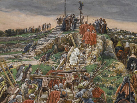 A large crowd trailed behind, including many grief-stricken women. <br/>(Luke 23:27). <br/>The Procession Nearing Calvary - James Tissot - Brooklyn Museum. – Slide 9