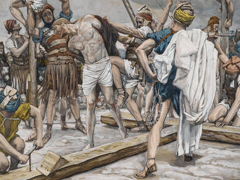 It was nine o'clock in the morning when they crucified Jesus. <br/>(Mark 15:25). <br/>Jesus Stripped of His Clothing - James Tissot - Brooklyn Museum. – Slide 10