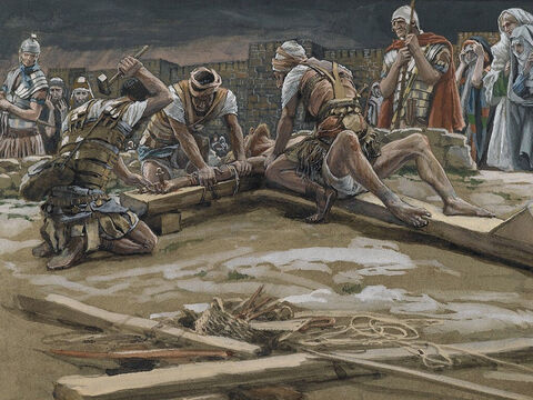The Roman soldiers nailed Jesus' hands to the cross. <br/>(Luke 23:32). <br/>The First Nail - James Tissot - Brooklyn Museum. – Slide 12