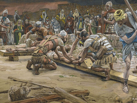 They nailed His feet to the cross. <br/>(Luke 23:32). <br/>The Nail for the Feet - James Tissot - Brooklyn Museum. – Slide 13