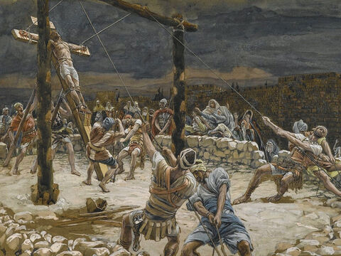 Jesus was crucified with two criminals, one to His left the other to His right. <br/>(Matthew 27:38). <br/>The Raising of the Cross - James Tissot - Brooklyn Museum. – Slide 15