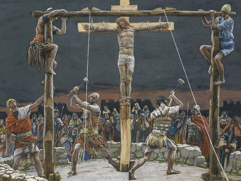 A sign was fastened above Jesus' head, announcing the charge against him. It read: 'This is Jesus, the King of the Jews.' <br/>(Matthew 27:37). <br/>The Five Wedges - James Tissot - Brooklyn Museum. – Slide 16
