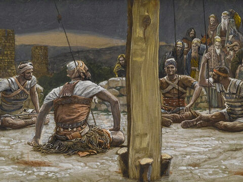 Then the soldiers sat around and kept guard as Jesus hung there. <br/>(Matthew 27:24). <br/>The Four Guards Sat Down and Watched Him - James Tissot - Brooklyn Museum. – Slide 18