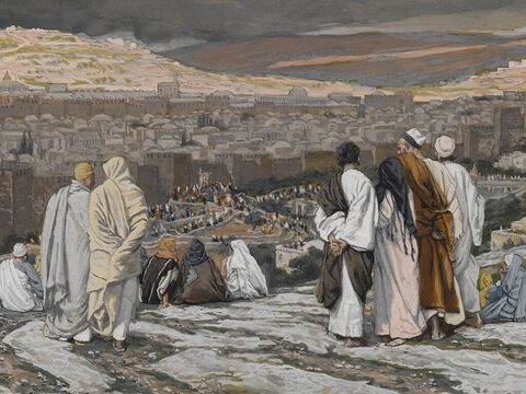 The people passing by shouted abuse, shaking their heads in mockery. <br/>(Matthew 27:39). <br/>The Disciples Having Left Their Hiding Place Watch from Afar in Agony - James Tissot - Brooklyn Museum. – Slide 19