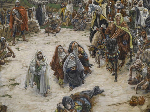 Near the cross of Jesus stood His mother, His mother's sister, Mary the wife of Cleopas, and Mary Magdalene. <br/>(John 19:25). <br/>What Our Lord Saw from the Cross - James Tissot - Brooklyn Museum. – Slide 20