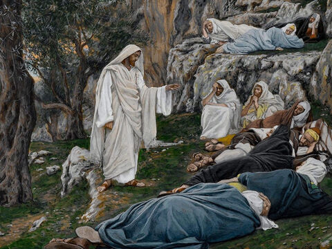 At the Garden of Gethsemane, Jesus says to His disciples, 'Sit here while I go over there and pray.' He takes Peter, James and John with Him. <br/>(Matthew 26:36-37, Mark 14:32-33, Luke 22:40). <br/>Jesus Commands the Apostles to Rest - James Tissot – Brooklyn Museum. – Slide 2