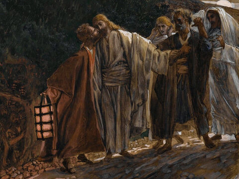 As Jesus is speaking, Judas arrives with a large crowd armed with swords and clubs, sent from the chief priests and the elders of the people. Judas has arranged a signal with them: 'The one I kiss is Jesus - arrest him.' Going over to Jesus, Judas says, 'Greetings, Rabbi!' He then greets Jesus with a kiss. <br/>(Matthew 26:48-49, Mark 14:43-45, Luke 22:48). <br/>The Kiss of Judas - James Tissot – Brooklyn Museum. – Slide 7