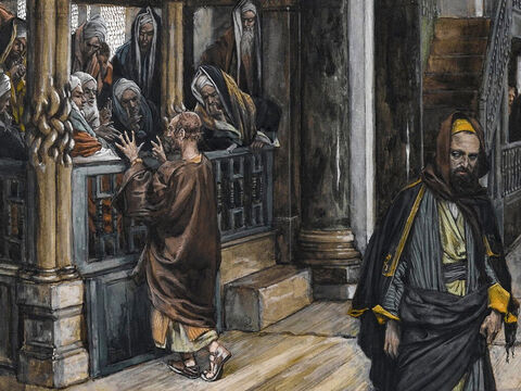 Judas asks, 'What are you willing to give me if I deliver Him over to you?' So they count out thirty pieces of silver. From then on Judas watches for an opportunity to hand Jesus over to them. <br/>(Matthew 26:15-16, Mark 14:11, Luke 22:4-6). <br/>Judas Goes to Find the Jews - James Tissot - Brooklyn Museum. – Slide 2