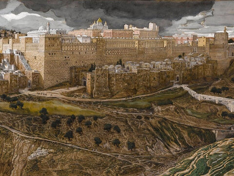 On the first day of the Festival of Unleavened Bread, the disciples come to Jesus and ask, 'Where do you want us to make preparations for you to eat the Passover?' <br/>(Matthew 26:17, Luke 22:7-9). <br/>Reconstruction of the Temple of Herod, Southeast Corner ¬- James Tissot - Brooklyn Museum. – Slide 3