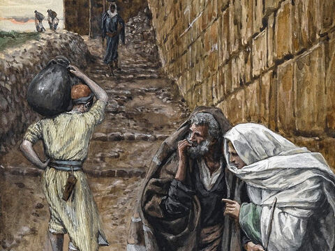 Jesus tells two of His disciples, 'Go into the city, and a man carrying a jar of water will meet you. Follow him. The owner of the house he enters will show you a large furnished room upstairs. Make preparations for us there.' <br/>The two disciples do as Jesus asks and prepare the Passover meal. <br/>(Mark 14:13-16, Luke 22:10-13). <br/>The Man Bearing a Pitcher - James Tissot - Brooklyn Museum. – Slide 4