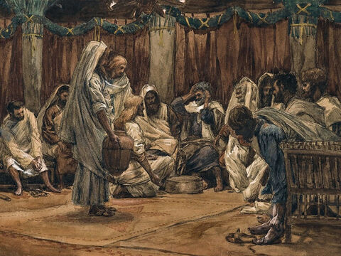 Jesus gets up from the meal, takes off his outer clothing, and wraps a towel around His waist. He pours water into a basin and begins to wash His disciples' feet, drying them with the towel that was wrapped around Him. <br/>Peter protests, 'No, you shall never wash my feet.' <br/>Jesus answers, 'Peter, unless I wash you, you have no part with me.' <br/>Peter replies, 'Then, don't just my feet but my hands and my head as well!' <br/>(John 13:3-17). <br/>The Washing of the Feet - James Tissot - Brooklyn Museum. – Slide 5
