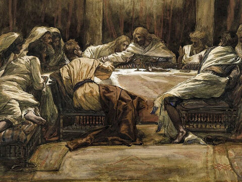 Jesus is reclining at the table with the twelve and says, 'One of you will betray me.' <br/>The disciples respond, 'Surely you don't mean me, Lord?' <br/>Jesus replies, 'The one who has dipped his hand into the bowl with me will betray me. Woe to that man who betrays the Son of Man! It would be better for him if he had not been born.' <br/>Judas, asks, 'Surely you don't mean me?' <br/>Jesus answers, 'You have said so.' <br/>(Matthew 26:20-25, Mark 14:18-21, John 13:21-30). <br/>The Last Supper: Judas Dipping his Hand in the Dish - James Tissot - Brooklyn Museum. – Slide 6