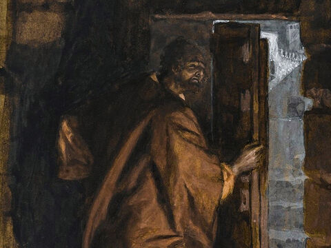 Jesus tells Judas, 'What you are about to do, do quickly.' The other disciples thought Jesus was telling Judas to buy what was needed for the festival, or to give something to the poor. Judas went out to betray Jesus.  <br/>(John 13:27-30). <br/>Judas Leaves the Cenacle - James Tissot - Brooklyn Museum. – Slide 7