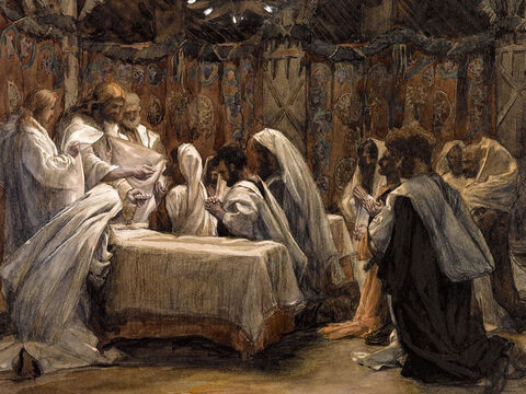 Jesus takes bread, gives thanks, breaks it and gives it to His disciples, saying, 'Take and eat, this is my body given for you. Do this in remembrance of me.' <br/>(Matthew 26:26, Mark 14:22, Luke 22:19). <br/>The Communion of the Apostles - James Tissot - Brooklyn Museum. – Slide 8