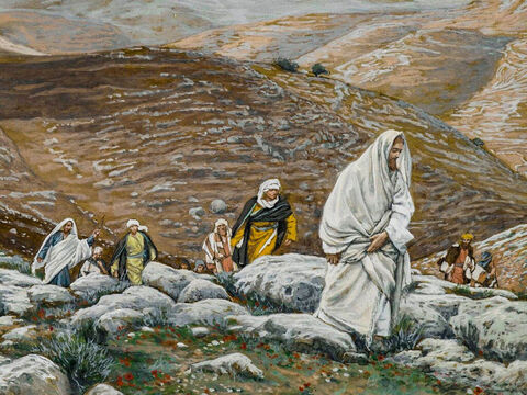 Jesus and His disciples climb towards Bethphage on the Mount of Olives. <br/>(Matthew 21:1, Mark 11:1). <br/>With Passover Approaching, Jesus Goes Up to Jerusalem - James Tissot - Brooklyn Museum. – Slide 1