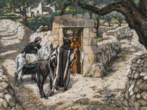 Two disciples are sent to find a donkey and her colt. <br/>(Matthew 21:2-6, Mark 11:2-6). <br/>The Foal of Bethpage - James Tissot - Brooklyn Museum. – Slide 2