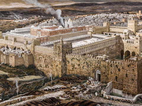 The procession heads from the Mount of Olives towards Jerusalem. <br/>(Luke 19:37). <br/>Reconstruction of Jerusalem and the Temple of Herod - James Tissot - Brooklyn Museum. – Slide 5