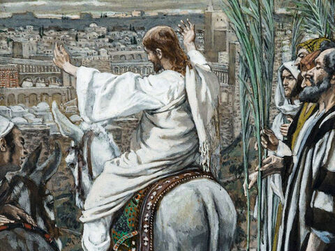 As Jesus approaches Jerusalem and sees the city, He weeps over it. <br/>(Luke 19:41-44). <br/>The Lord Wept - James Tissot - Brooklyn Museum. – Slide 6