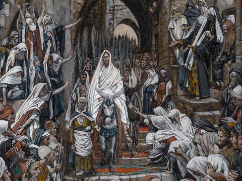 Jesus enters Jerusalem. The whole city is stirred and asks, 'Who is this?' <br/>The crowds reply, 'This is Jesus, the prophet from Nazareth in Galilee.' <br/>(Matthew 21:10-11). <br/>The Procession in the Streets of Jerusalem – James Tissot - Brooklyn Museum. – Slide 7