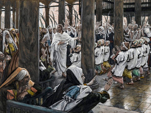 Jesus enters the temple courts. <br/>(Mark 11:11). <br/>The Procession in the Temple  - James Tissot - Brooklyn Museum. – Slide 9